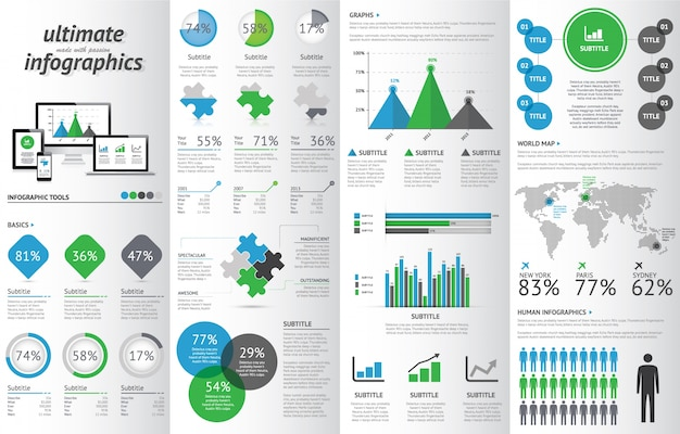 Modern infographic set with electronic devices. Premium Vector