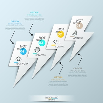 Modern infographic template - 4 overlapping elements in shape of lightnings connected with text boxes