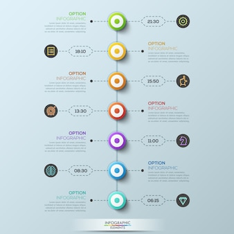 Modern infographic template, 7 circular elements connected with text boxes by dotted lines