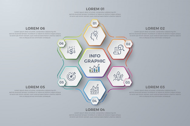 Modern infographic template design with 6 process choices or steps