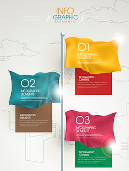 Modern infographic template design with colorful flag elements