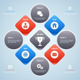 ビジネスのためのモダンなインフォグラフィックテンプレート。オプションバナー。