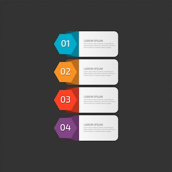 Modern infographic template in four steps for business.