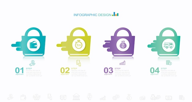 Modern infographic template stock illustration infographic development four objects number