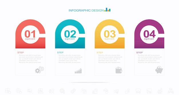 モダンなインフォグラフィックテンプレートストックイラストインフォグラフィック4つのオブジェクトステップ天気表