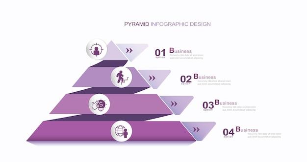 현대 인포 그래픽 템플릿 재고 일러스트 피라미드 인포 그래픽 삼각형 모양 아이콘 다이어그램
