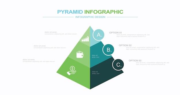 현대 인포 그래픽 템플릿 재고 일러스트 피라미드 삼각형 모양 세 개체 인포 그래픽