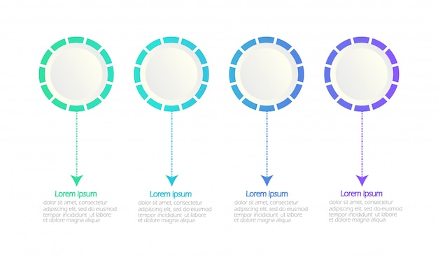 Modern infographic template. timeline infographic. circles. white space for content. 4 option.