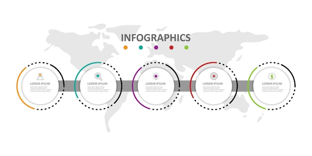 Modern infographic template with 5 options or steps