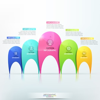 Modern infographic template with 5 separate multicolored elements of different sizes