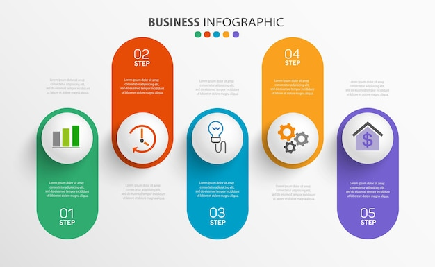 Modern   infographic template with 5 steps for business