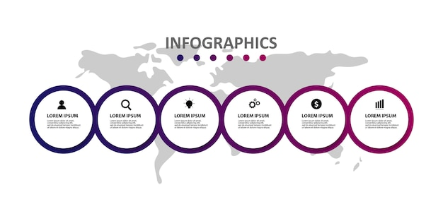 Modern infographic template with 6 options or steps