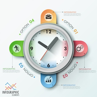 Modern infographic template with clock