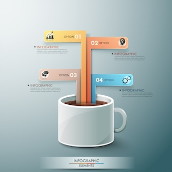 Modern infographic template with cup of tee