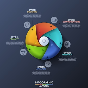 Modern infographic template with divided circle