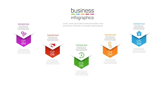 Modern  infographic template with five steps for business