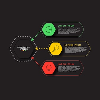 Modern infographic template with three multicolor hexagonal elements on a black background