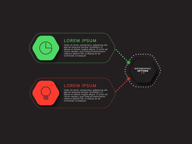 Modern infographic template with two multicolor hexagonal elements on a black background