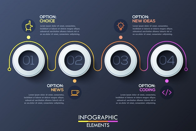 Modern infographic template with white rings and numbers inside