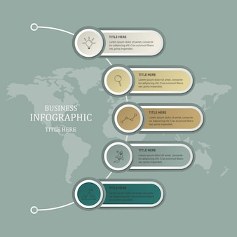 Modern infographic template and world map background.