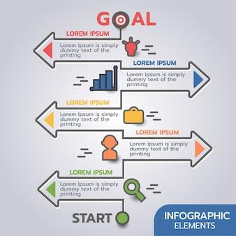 화살표와 요소 디자인 현대 infographic 일정 템플릿.