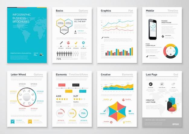 ビジネスパンフレット用の最新のインフォグラフィックベクターエレメント
