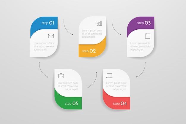 5つのステップまたはプロセスの要素を持つモダンなインフォグラフィック。ビジネスコンセプトのタイムライン