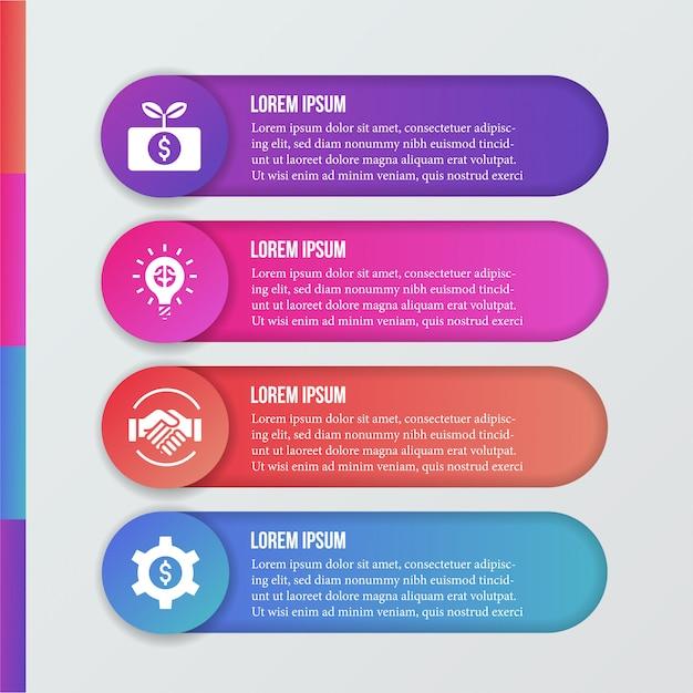近代的なインフォグラフィックとビジネスアイコン