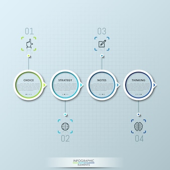 Modern infographic with four circular elements and text boxes
