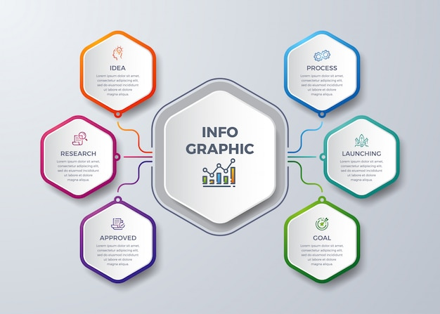 Modern infographic with  hexagon shape.