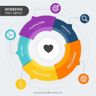 Modern infographic with rounded shape and great colors