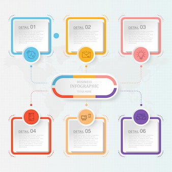 Modern infographic with six steps