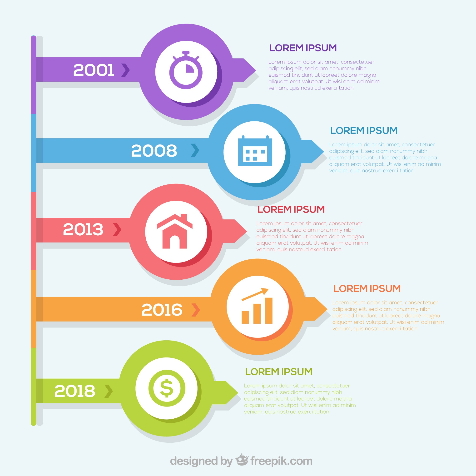 Modern infographic with timeline