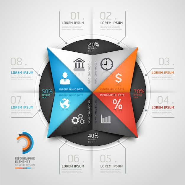 Modern infographics business triangle origami style.