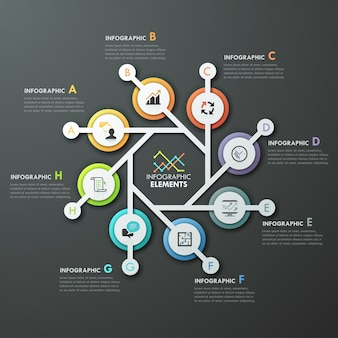 Modern infographics cycle template with 4 paper arrows
