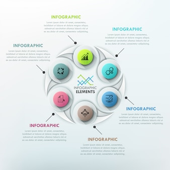Modern infographics cycle template with drop shapes