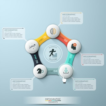 Modern infographics cycle template with paper circles