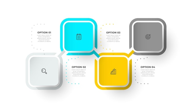 Modern infographics design template with square and marketing icons   illustration
