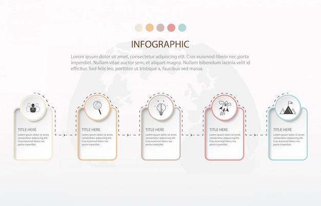 Modern infographics five step