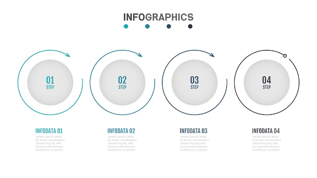 Modern infographics label design with thin lines flat circle.