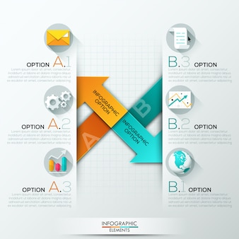 Modern infographics options banner with 2 paper arrows
