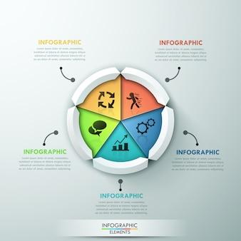 Современный баннер с инфографикой с 5-круговой круговой диаграммой