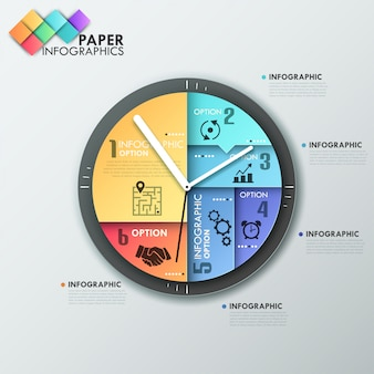 Modern infographics options banner with clock