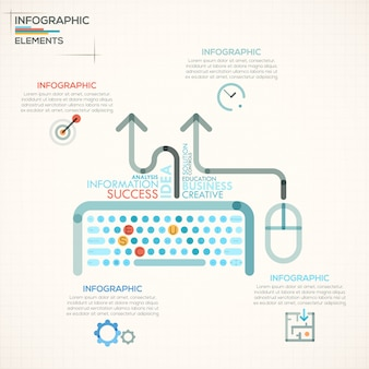 Modern infographics options banner with colorful keyboard