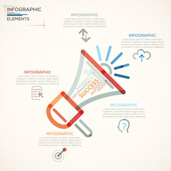 Modern infographics options banner with colorful megaphone