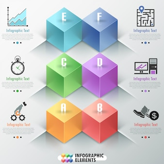 Modern infographics options banner with cubes