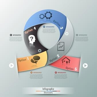 Современная инфографика варианты баннеров с реалистичной лентой