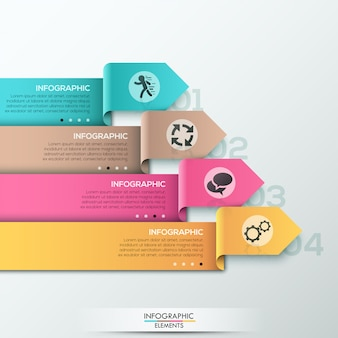 Modern infographics options banner with ribbons