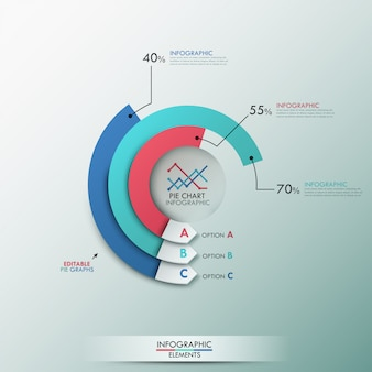Modern infographics options template with 3 pie charts
