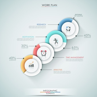 Modern infographics options template with 4 pie charts